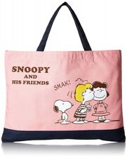 SNOOPY PEANUTS Cotton Canvas College Tote Bag B4 Size With Tracking From Japan