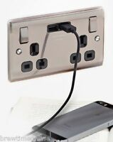 BG Double Gang Electrical Plug Socket With 2 USB Outlets Electric Wall Faceplate