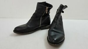 A.S. 98 Black Leather Short Bootie Size 38