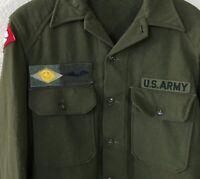 Original Vtg WWII Era 1940's US Army Wool Fatigue Shirt w Patches Insignia