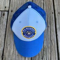 Milwaukee Brewers Embroidered Logo Trucker Snapback Hat Mesh Baseball Cap