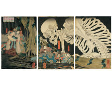 Japanese Art 3 Panel Print Triptych, In the Ruined Palace at Sōma by Kuniyoshi