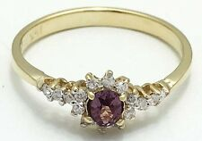 ALEXANDRITE & WHITE SAPPHIRES Ring 14k Yellow Gold * FREE SHIPPING SERVICE *