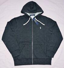 New XL POLO RALPH LAUREN Mens fleece full zip up hoodie jacket black sweatshirt