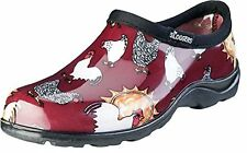 Sloggers Chicken Print Collection Women's Rain & Garden Shoe, Size 7, Barn Red