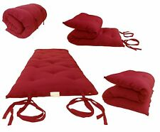 Red Full Size Traditional Japanese Floor Rolling Futon Mattress, Bed, Mat
