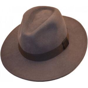 Grey Fedora Trilby Wide Brim 100% Wool Felt Cowboy  Indiana Style Hat