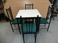 SMALL WHITE / BLACK LEGS DINING TABLE & 4 X CHAIRS