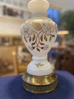 Vintage Milk Glass Lamp w/Floral And Gold Accents, Heavy Brass Base, Beautiful