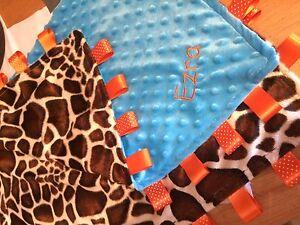 Luxury Animal Taggy Blanket-Moses/Crib/Pram/Cot,Blue,Pink,lilac Personalised
