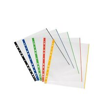 50 herlitz Prospekthüllen DIN A4 sort farbiger Rand glasklar Klarsichthüllen