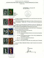 1973 Luxembourg Welfare Funds Nativity set used on postal administration sheet