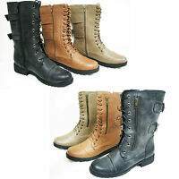 Womens Fashion Combat Military Boots Zipper Lace Up Buckle Shoes, Colors, Sizes