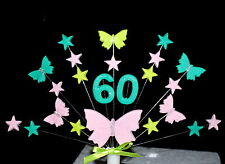 Personalised age butterfly and stars Birthday, christening  Cake Topper