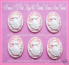 6 Christian Religious WHITE ANGEL & 3 CHERUBS on PINK 25mm x 18mm CRAFTS CAMEOS
