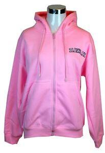 Hawaii Logo Embroidered Sweater Fleece Hoodie Zipper Sweatshirt Heavy Pink