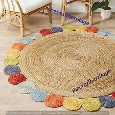Natural Hand Braided Hand Woven Home Living Jute Floor Carpet 210 CM Circle Rugs