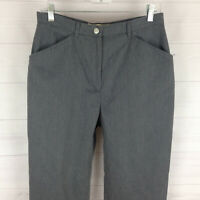 Evan Picone womens size 10 short gray flat front soft twill high tapered pants