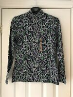 M&S Collection Navy Floral Print Long Sleeve Cotton Stretch Jersey Top Sz UK 10