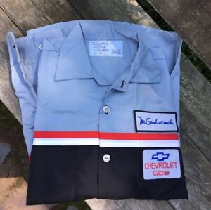 NOS~Vtg Chevrolet Mr. Goodwrench Auto Mechanic Shirt Size Mens Small Long Sleeve
