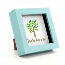 """4x4"""" Blue Frame Square Photo 3D Box Picture  - Standing & Hanging 10x10cm"""