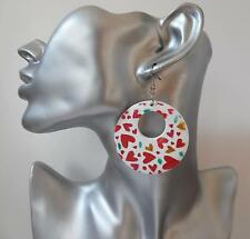 Pretty white wood boho style hoop drop earrings with coloured heart print detail