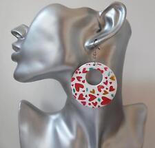 Pretty white wood boho style hoop drop earrings with coloured heart print detail