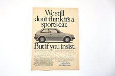 1982 Honda Civic GL Original Print Ad Automobile Car