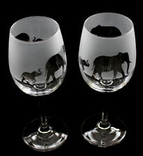 New etched Elephant gift (Mother & baby) Wine Glasses tulip shaped. Boxed