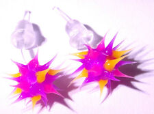 Boucles d'Oreilles Fluo Virus Bijoux rose violet pink purple Earrings