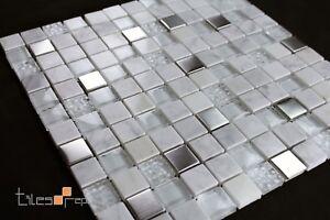 Carrara Marble Glass Mosaic Tile Sheet 300x300