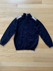 Burberry Children Full Zip Sweater Cardigan - Size 6Y - Navy / Plaid - Cotton