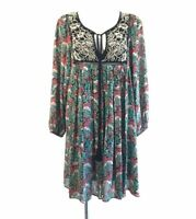 Floreat Womens Peasant Boho Floral Dress Long Sleeve Multicolor Empire Waist  L