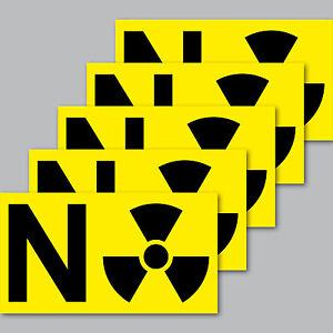 5 Aufkleber 9cm Sticker NO gegen Strahlung Kernkraft Atomkraft Kernkraftwerk