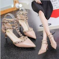 New Fashion Women's Shoes Rivets Studded Pointed Toe Pumps Party Wedding Sandals