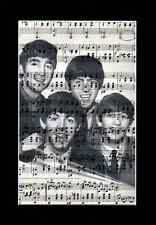 THE BEATLES Vintage Sheet Music Art Print Upcycled & Unique Fab 4