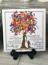 Home Decor Sign Ceramic Tile w/ Easel Mother Daughter Tree Of Life Gift 7.5