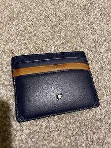 Mont Blanc Meisterstuck Navy Blue Tan Pocket Credit 6 Card Holder