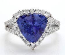 5.21 Quilate Natural Azul Tanzanita y Diamantes en 14K Macizo Blanco Anillo de