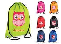Personalised Owl Gym Bag Swim Bag Nursery Drawstring School PE Kit Sports Kids