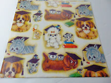Vintage Hallmark Gift Wrap Wrapping Paper Graduate Graduation Gift Puppies Cats