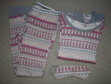 VICTORIA'S SECRET 3pc sz Medium Sleepwear Pajamas pants shirt eye mask set  :)