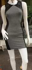 New Women's Bodycon 2Tone Mesh Trimmed Sleeveless Mini Dress Leather Panel  6-8