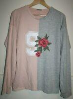 Zara Trafaluc Women's Casual Pink Grey Rose Long Sleeve Jumper Sweater Top SizeL