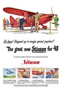 "1948 Stinson ""Flying Station Wagon"" Vintage Airplane Poster"