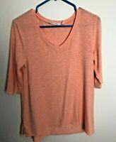 Soft Surroundings Women's Short Sleeve V Neck Tunic Top Orange Small S