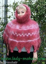 *Kid Mohair soft fuzzy thick sweater PONCHO t-neck Rollkragen handgestrickt