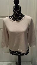Women's H&M Cropped Pullover Creme/Ivory w/Brown Elbow Patch Sweater Sz M Mint