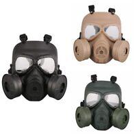 Double Filter Fan Gas Mask Respirator Perspiration Eye Face Protector CS Edition