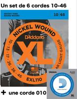 Set 6 cordes + 1 D'Addario EXL110 XL - 10 à 46 - Nickel - guitare électrique